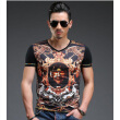 SHUYI Men 's Bronzing V - Neck Short - Sleeved t - Shirt Summer Thin Section Men' s Cotton Short - Sleeved Domineering Print