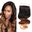 8A Ombre Brazilian Lace Closure Body Wave 3 Tones 1B/4/27 Virgin Human Hair Closure