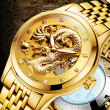 Luxury Automatic Mechanical Wristwatches  Gold Dragon Stainless Steel Band Men's Watch Waterproof Relogio Masculin