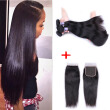 Malaysian Straight Hair With Closure 3 Bundles 7A Straight Malaysian Virgin Hair With Closure 100% Human Hair With Closure