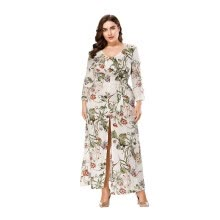 d0d0e780a24 2018 Autumn New European Style Plus Size Print Long Bohemian V-Neck  Seven-Point Sleeve Dress