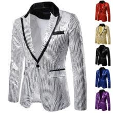 -Men's Sequin Glitter Tuxedo Slim Fit One Button Suit Blazer Business Coat Jacket on JD