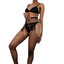 -Hot Sexy Womens Fishnet Tights Open Crotch Mesh Pantyhose Shiny Rhinestone Lady Nylons Stockings Fish Net Tights Hosiery Collant on JD