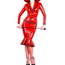 -100% Rubber Latex Dress Set Sexy Dress Skirt Red Shirt Catsuit Cosplay Maid Costume Size XXS-XXL on JD