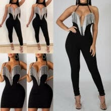 -Womens Summer Sexy V Neck Sleeveless Jumpsuit Loose Wide Leg Pants Suit Playsuit on JD