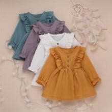 -UK Toddler Baby Kids Girl Long Sleeve Casual Ruffle Tutu Dress Skirts Clothes on JD