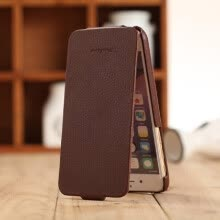 -Fashion Genuine + PU Leather Mobile Phone Ultra Slim FLip Cover Protective Shell for 4.7' iPhone 6 6S Brown on JD