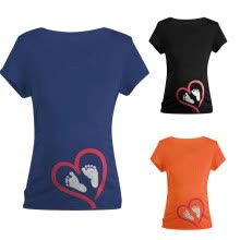 -Women Short Sleeve Maternity Blouse Digital Printed Pregnancy Lady Tops T-Shirt on JD