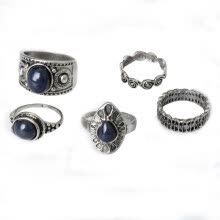 -5Pcs/Set Bohemian Vintage Blue Stone Alloy Finger Ring Women Charming Jewelry on JD