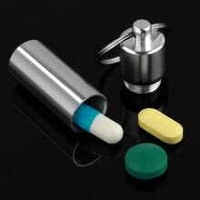-Mini Waterproof Aluminum Medicine Pill Bottle Box Case Holder Container Keychain on JD