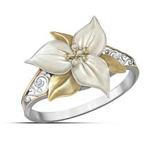 -Retro Styl Two Tone Diamond Floral Ring Anniversary Gift Engagement Bridal Wedding Rings Jewelry Size 5-10 on JD