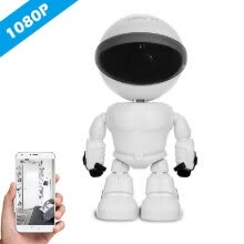 87502-HD 1080P WiFi Robot Security IP Camera Pan Tilt WiFi Camera Support P2P Night vision Motion Detection Two way Audio Phone App Cont on JD