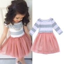 -Kids Baby Girls Long Sleeve Striped Lace Tulle Tutu Dress Princess Party Wedding Gown on JD