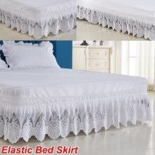 -White Ruffle Lace Elastic Bed Skirt 3 Sided Wrapped 15 Inches Drop Length Full/Queen/RV King/California King 4 Size Bed Wrap on JD