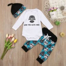 -3pcs Toddler Infant Kid Baby Boy Girl Clothes Romper Tops+Pants+Hat Outfits Set on JD