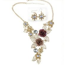 -Canicon Women's Elegant Vintage Flower Gold Necklace Statement Earrings Jewelry Set on JD