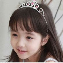 tape-hair-extensions-Cute Lively Baby Girls Crown Princess Hair Ribbon Hardback Pretty Bridal Hair Clasp on JD
