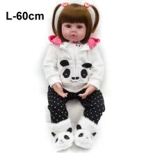 -Brown Eyes Panda Clothes Baby Reborn Fashion Simulation Doll Dolls Bedtime Early Education for Children Birthday Gift on JD