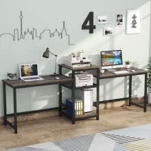 -96.9' Double Computer Desk with Printer Shelf, Extra Long Two Person Desk Workstation on JD