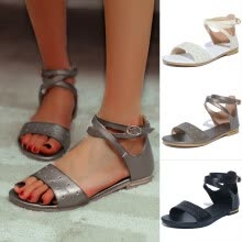 -Summer Women's Open Toe Sandals Ankle Strap Buckle Large Size Flat Beach Shoes on JD