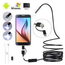 -Waterproof HD Endoscope Lens Mini USB Inspection Camera with 6 LED Lights Borescope for Android Smartphone/PC/ on JD