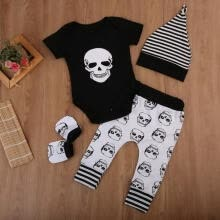 -Newborn Infant Kids Summer Baby Boy Girl Skull Clothes Romper+Long Pants Hat 4pcs Outfits Set Fit For 0-18M on JD