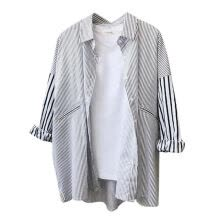 -Women Lapel Single-Breasted Long Sleeve Stitching Stripe Loose Tops Blouses Versatile Blouse on JD