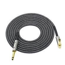 -3 Meters/ 10 Feet Musical Instrument Audio Guitar Cable Cord 1/4 Inch Straight to Right-angle Gold-plated TS Plugs PVC Braided Fab on JD