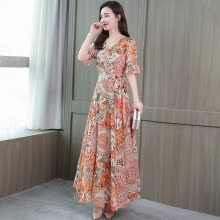 -Classic Style Flower Print V-neck Ankle-length Dress Fashion Sweet Ruffled Sleeves Women's Dress on JD