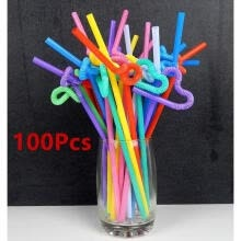 -100 pcs/lot PARTY Drinking STRAWS Bendable Flexible PP Juice Straw Birthday Wedding Decoration on JD