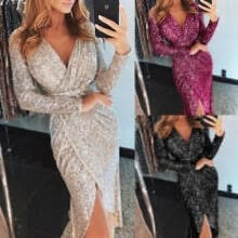 -Elegant Women Shiny Sequin Long Cocktail Evening Party Dress on JD