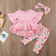 -Fashion New Kids Baby Girls Dress Ruffles Tops T shirt+Unicorn Pants Outfits Set Clothes on JD