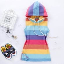 -Kids Baby Girl Summer Sleeveless Rainbow Stripe Dress Hooded Outfit Sunsuit Clothes Girls Casual Dresses on JD