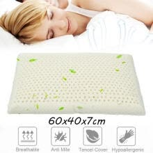-100% Natural Bed Latex Feel Pillow Foam Soft Comfort Ventilated Pain Relief on JD