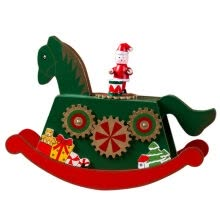 -Kids Music Color Painted Wooden Rocking Horse Christmas Music Box Christmas Decoration Ornament Holiday Gift on JD