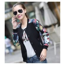 -2017 Women Jacket Tops Flower Print Girl Plus Size Casual baseball Button Thin Long Sleeves Coat Jackets on JD
