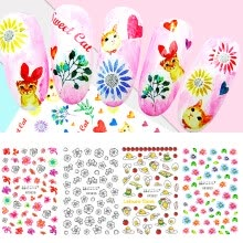 -Fresh Style Flower Print 3D Nail Art Stickers Manicure Adhesive Transfer Decals on JD