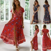 -Summer Women Floral Clothes Short Sleeve Vintage Boho Maxi Long Split Dress Dresses on JD