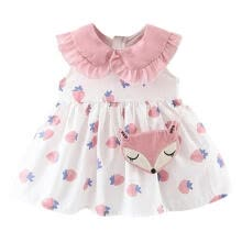 -Summer Baby Girl Casual Tutu Dress Toddler Strawberry Pattern Sleeveless Cotton Dresses Outfits With Bag 3-42M on JD