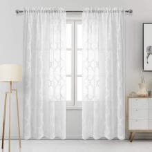 -Embroidered Lace Sheer Curtain for Parlor Window Curtain Treatment Rod Pocket Dr on JD