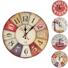 -Vintage Style Non-Ticking Silent Antique Wood Wall Clock for Home Kitchen Office on JD