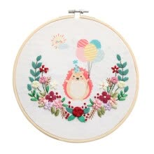 -Cartoon Animal Easy Ribbon Embroidery Sale With Retro Hoop for Beginner Needlework Cross Stitch Kit Handmade Sewing Wall Decor on JD