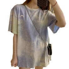 -Women Summer Casual T-shirts, Crew Neck Color Tie Dye Printed Moon Embroidery Loose Tees Tops on JD