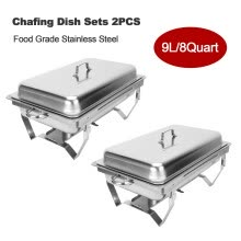 living-room-furniture-2Pack Chafer Chafing Dish Sets 9L/8Q Stainless Steel w/ Foldable Legs Trays on JD