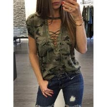 -New Sexy Women Summer T-shirt Deep V Neck Camouflage Tops Wear For Ladies Summer Female Short Sleeve Loose Tops T-Shirt on JD