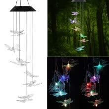 -LED Solar Powered Butterfly Wind Chimes Light Home Garden Hanging Lamp Decor on JD
