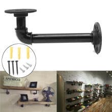-1Pc 16CM Industrial Pipe Shelf Bracket Black Tube Support Furniture Wall Tool DI on JD