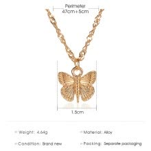 -Butterfly Choker Women Plated Pendant Chain Necklace Charm Jewelry (Gold) on JD