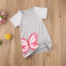 underwear-Baby Girl Dress, Summer Blouse, Round Collar Short Sleeve Striped Butterfly Printed Kids Clothes Cotton on JD