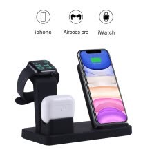 -3 In 1 Wireless Charger, Wireless Charging Station Compatible With Apple Watch Series 5/4/3/2/1, AirPods Pro, IPhone 11 Pro Max Xs on JD
